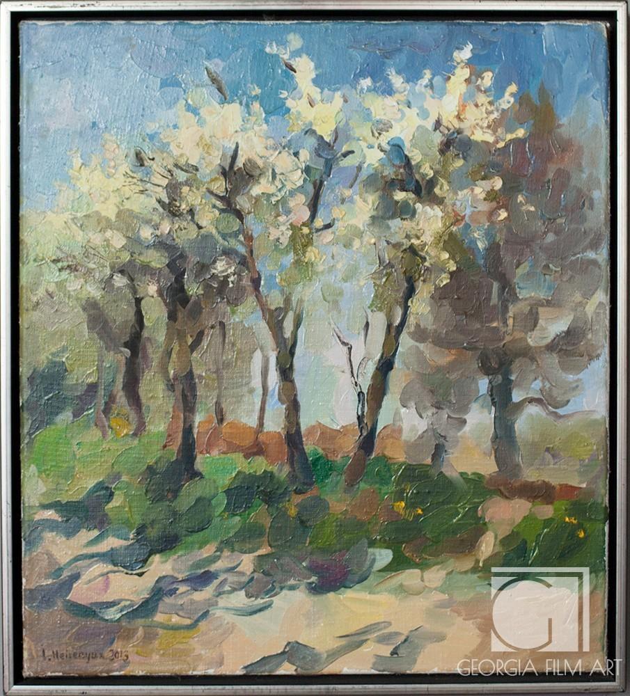 White Flowering Trees In Silver Frame Georgia Film Art